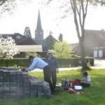 Willi prepares picnic spot